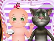 Juego Cuidado de los Bebes Rosy y el Gato Talking Tom